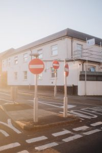 Using the homemade Promist filter at sunset, showing 3 stop signs