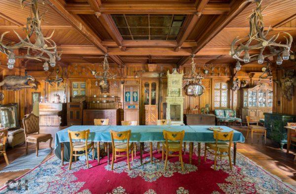 dining trophy room hunters hotel germany urbex