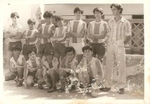 """La Piscina """" El Córdoba"""" 1969 Claudio, Peña, Delfín, Machado, Gabi, Pedro, Tomás"""