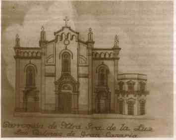 Dibujo de la Iglesia de La Luz, extraido de la Revista La Voz de la Parroquia de Nuestra Señora de La Luz. Octubre de 2013
