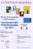 Cartel charla sobre los Sucesos del 15 de Noviembre