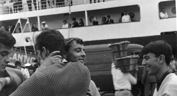 Foto de José Daniel Santana Torres de despedida de Edgar a Venezuela. Años 60