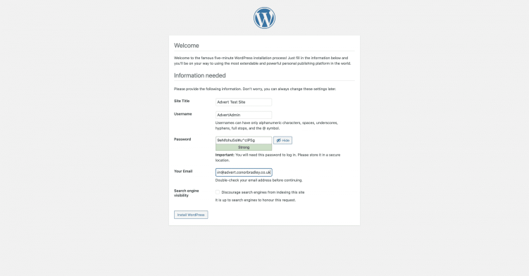 Typing in the wordpress site titleadmin usernamepassword and email then pressing install wordpress Conor Bradley Digital Agency