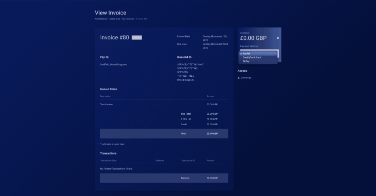 View invoice section to check everything is on the invoice and selecting a payment method Conor Bradley Digital Agency
