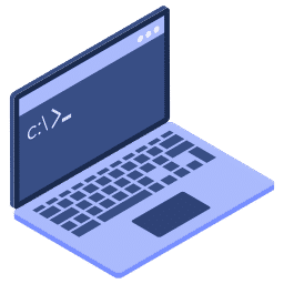 isometric access command laptop line prompt root icon