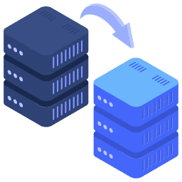 isometric arrow migration server servers transfer two website icon