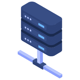 isometric center connected connection data server servers stacked icon