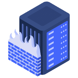 isometric fire firewall server wall web icon