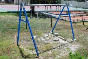 Empty swing set at hotel