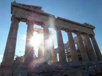 Sun setting behind the Parthenon