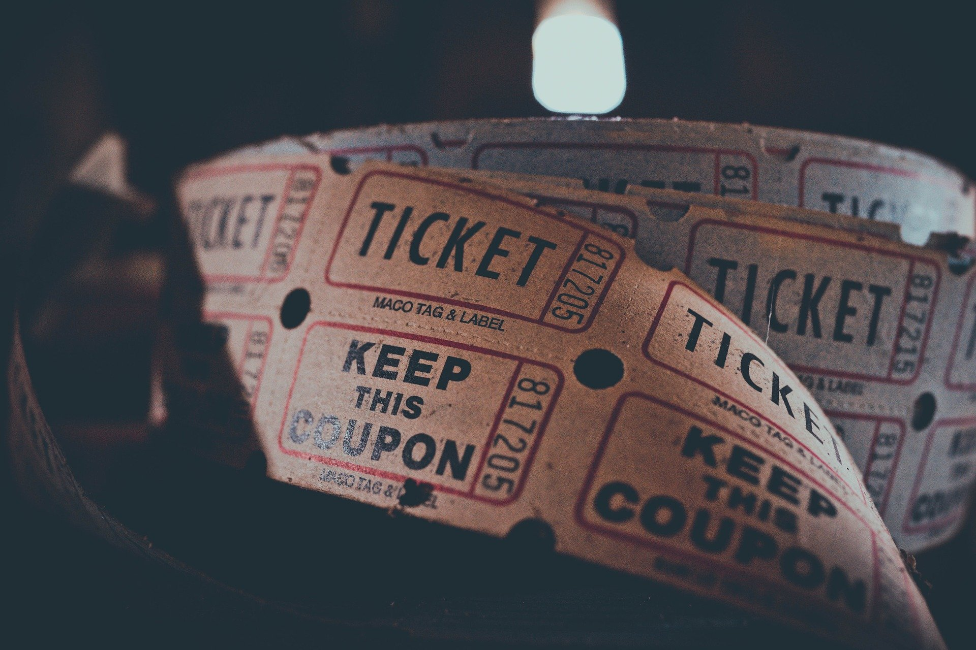 Old fashioned paper ticket reel