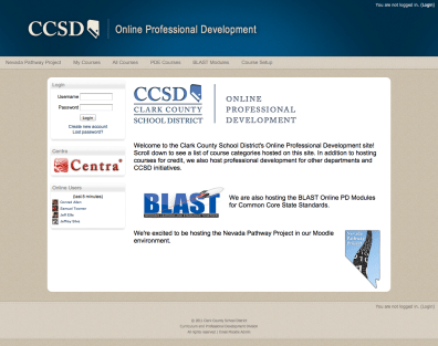 I built and customized the LMS for Clark County School District's Online Professional Development courses. It is built on Moodle 1.9, and then Moodle 2.1.