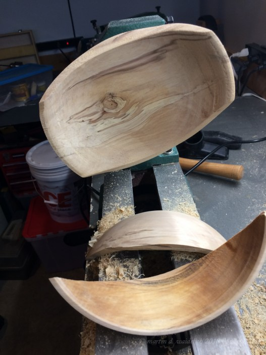 For some wood turners, working with spalted wood is something they will avoid. This is one reason why. Perhaps I tried to cut the walls too thin. For whatever the reason it just stopped being a bowl.