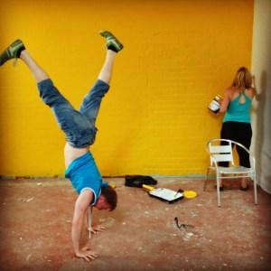 Conrad doing a handstand