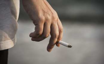 Smoking Cigarette in a Hand