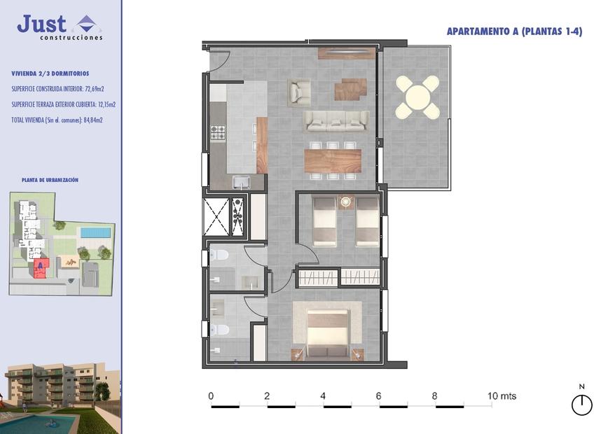 Residencial Sureste Denia vivienda tipo A 2 dormitorios