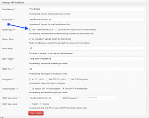 Click for larger image. Do NOT forget to activate the SMTP settings as indicated by the blue error.