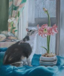 cat with flower painting