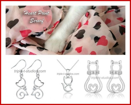 Giveaway: Heart Print Scarf and Silver Cat Jewelry from