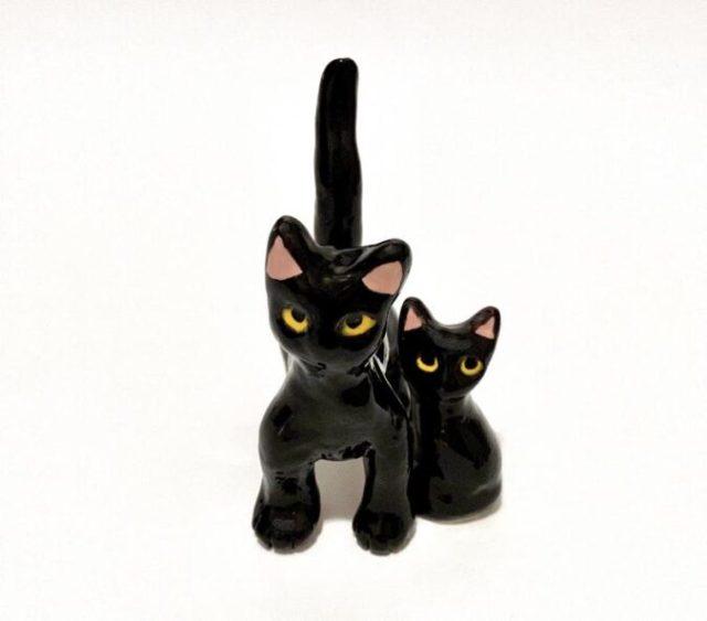 black-cat-kitten-ceramic-figurine