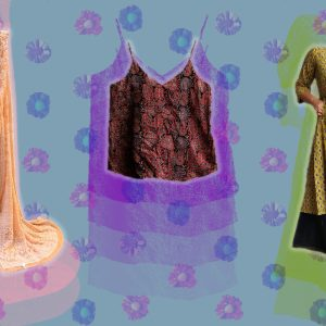 Festive look brands for her. Image featuring a saree, short top and kurti with flower brooch in background.