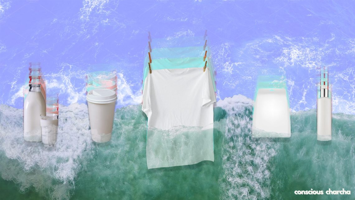 different products washed away by a green wave