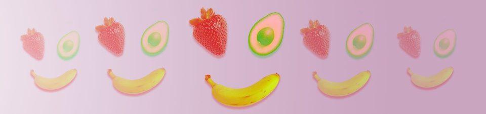 Strawberry, banana and avocado vegan ingredients