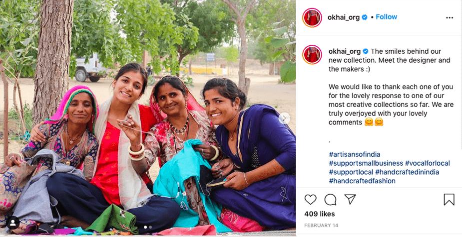 Support community-upliftment with Okhai India. Image from Instagram.