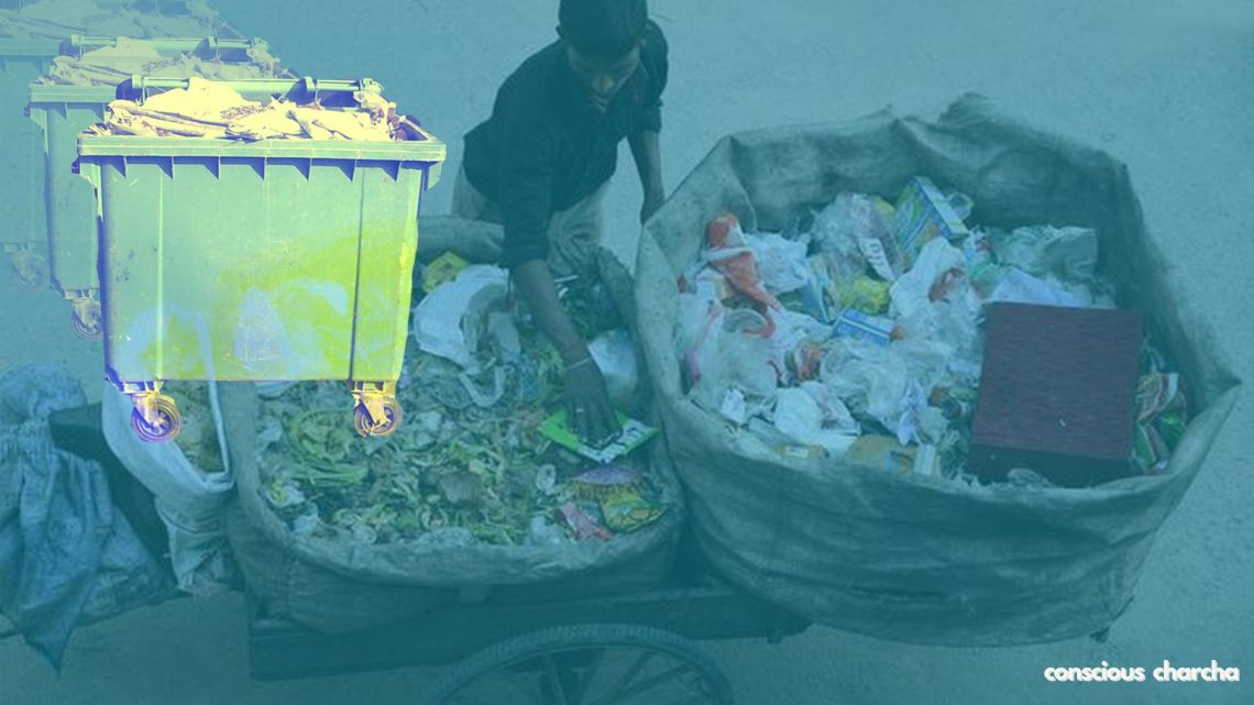rag picker and waste disposal dustbin