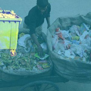 rag picker and waste disposal dustbin