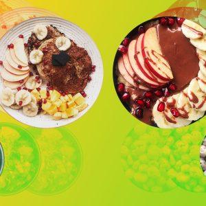 4 easy vegan recipes & dishes for beginners- apple peanut butter snack, vegan pancakes, vegan oatmeal bowl, makhana