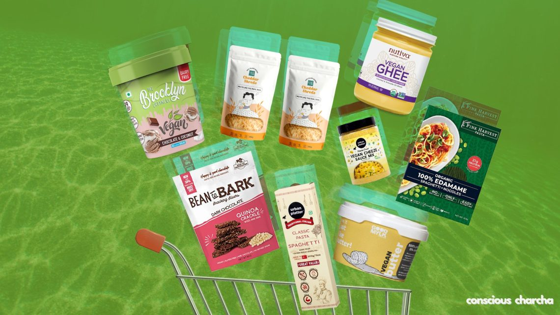 Vegan store products in a cart. Products like vegan ghee, butter, cheese, pasta, chocolates etc.