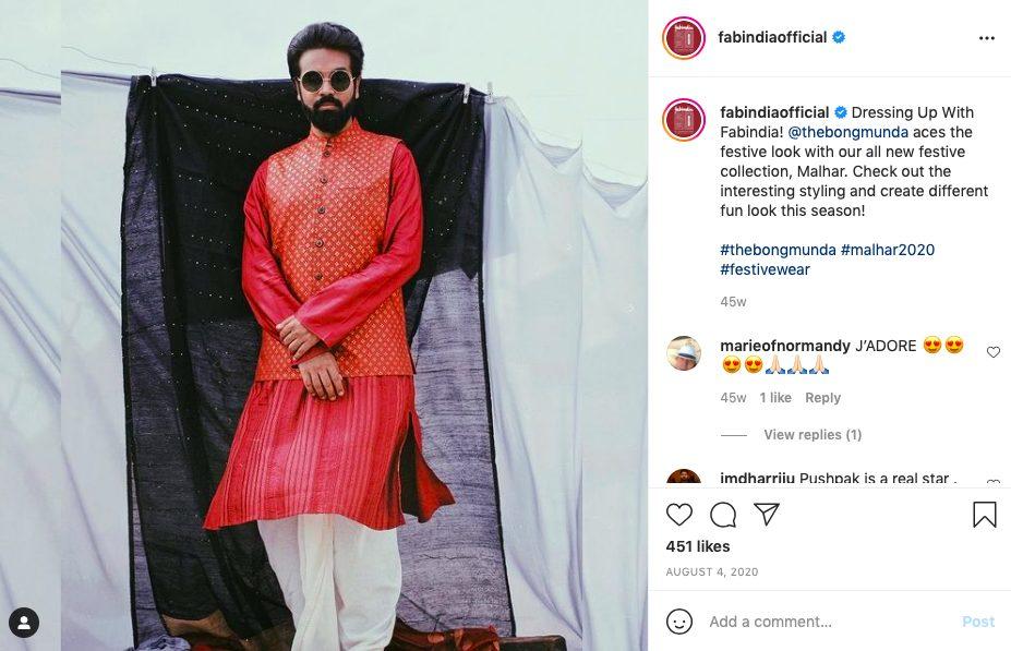 Kurta dhoti set by Fabindia- Indian festive look brand for him