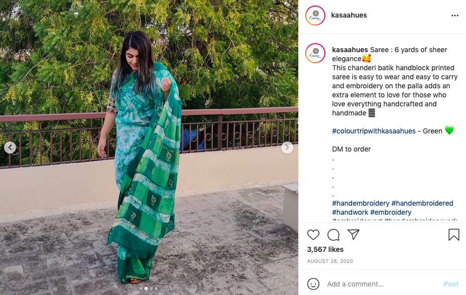 Kasaa Hues saree. Image from Instagram