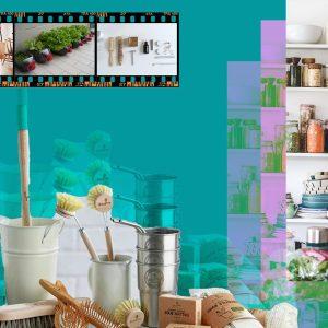 Plastic-free Home essentials. Steel containers, reusing plastic bottles, metal straws, plastic-free cleaning, plastic-free storage containers.