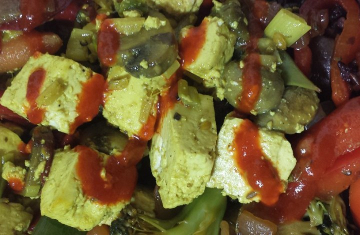 Tofu Scramble with Stir Fries over Brown & Black Rice