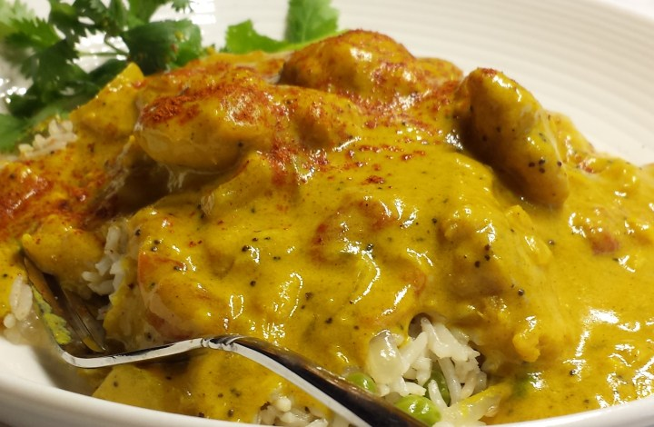 Pakora-Ginger Curry with Peas Pilau