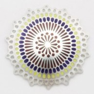 Untitled Brooch (lilac & yellow), 'Mandalam Series' 2011, silver, champlevé enamel
