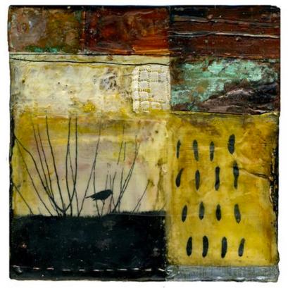 Bridget Guerzon Mills 'Good Intentions' (2008) encaustic and mixed media, 6×6 inches