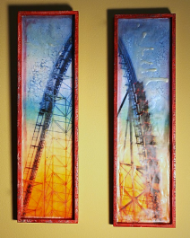 Linda Plaisted 'Freefall Diptych' (2013) Encaustic Mixed Media, 18 x 5""