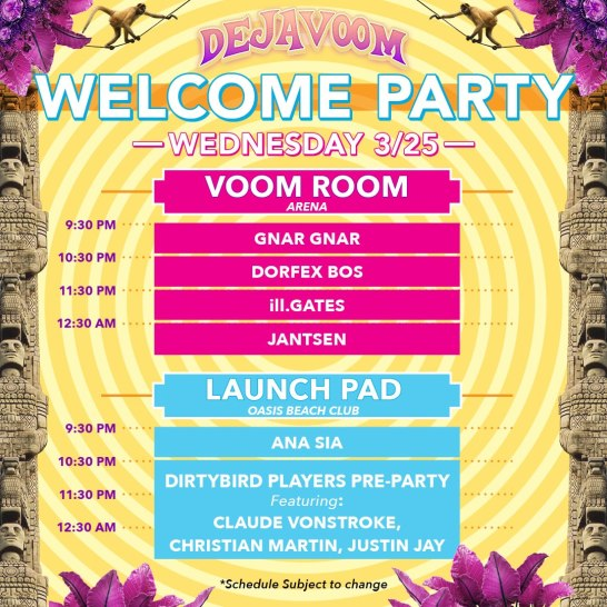 DejaVoom 2020 Welcome Party line-up.