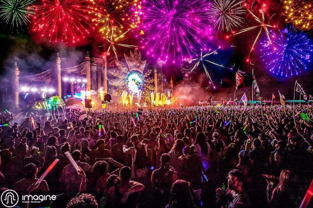 Imagine Music Festival's spectacular mainstage with fireworks at night
