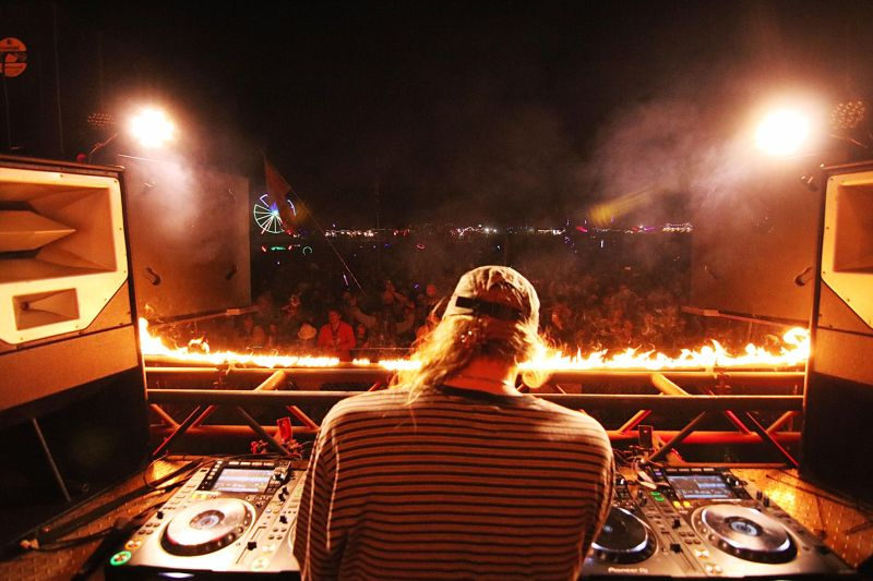 Rest In Pierce plays to a crowded late night set at the fiery traveling Incendia stage from Burning Man