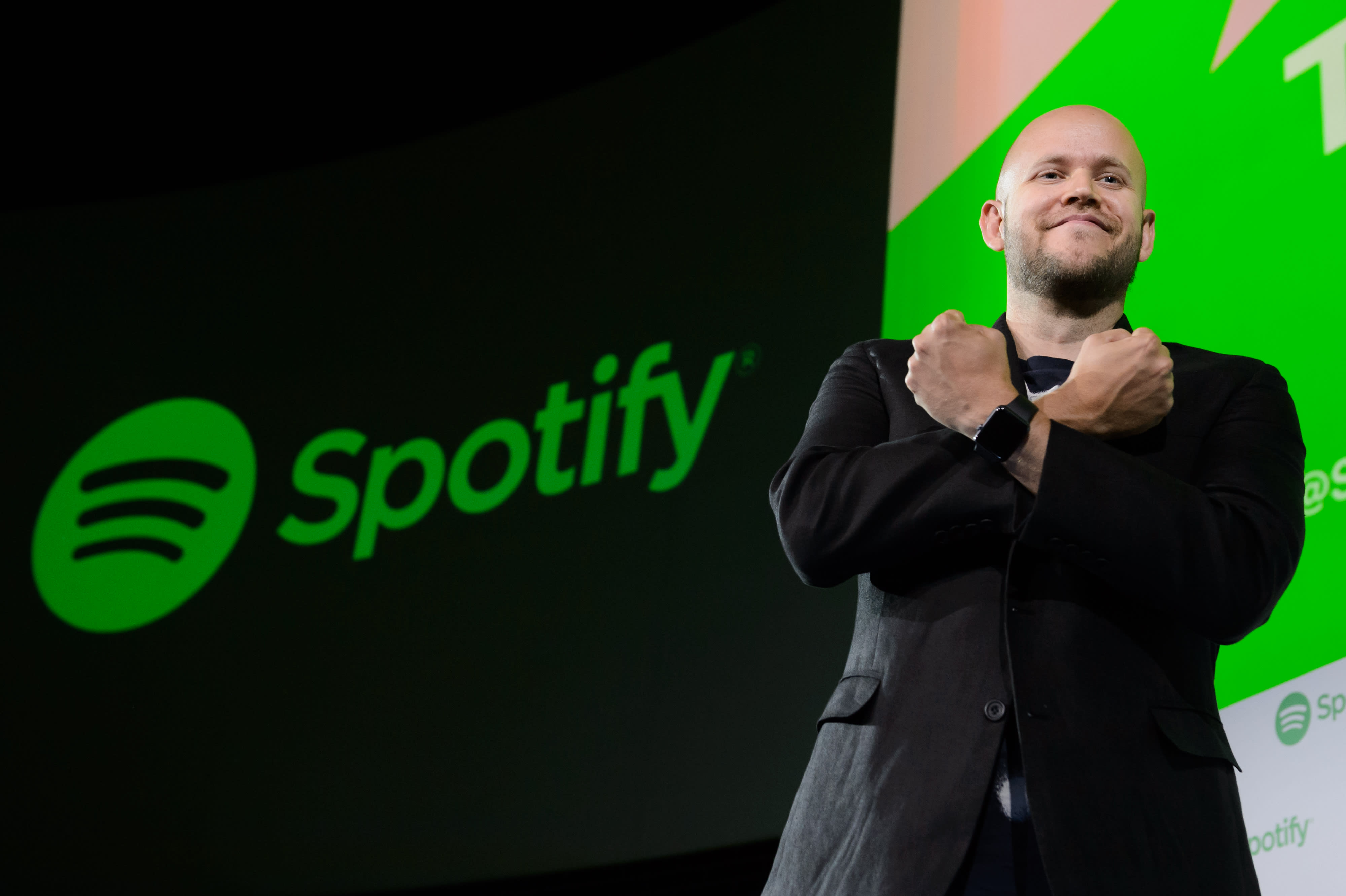 Spotify's CEO Daniel Ek poses at a conference