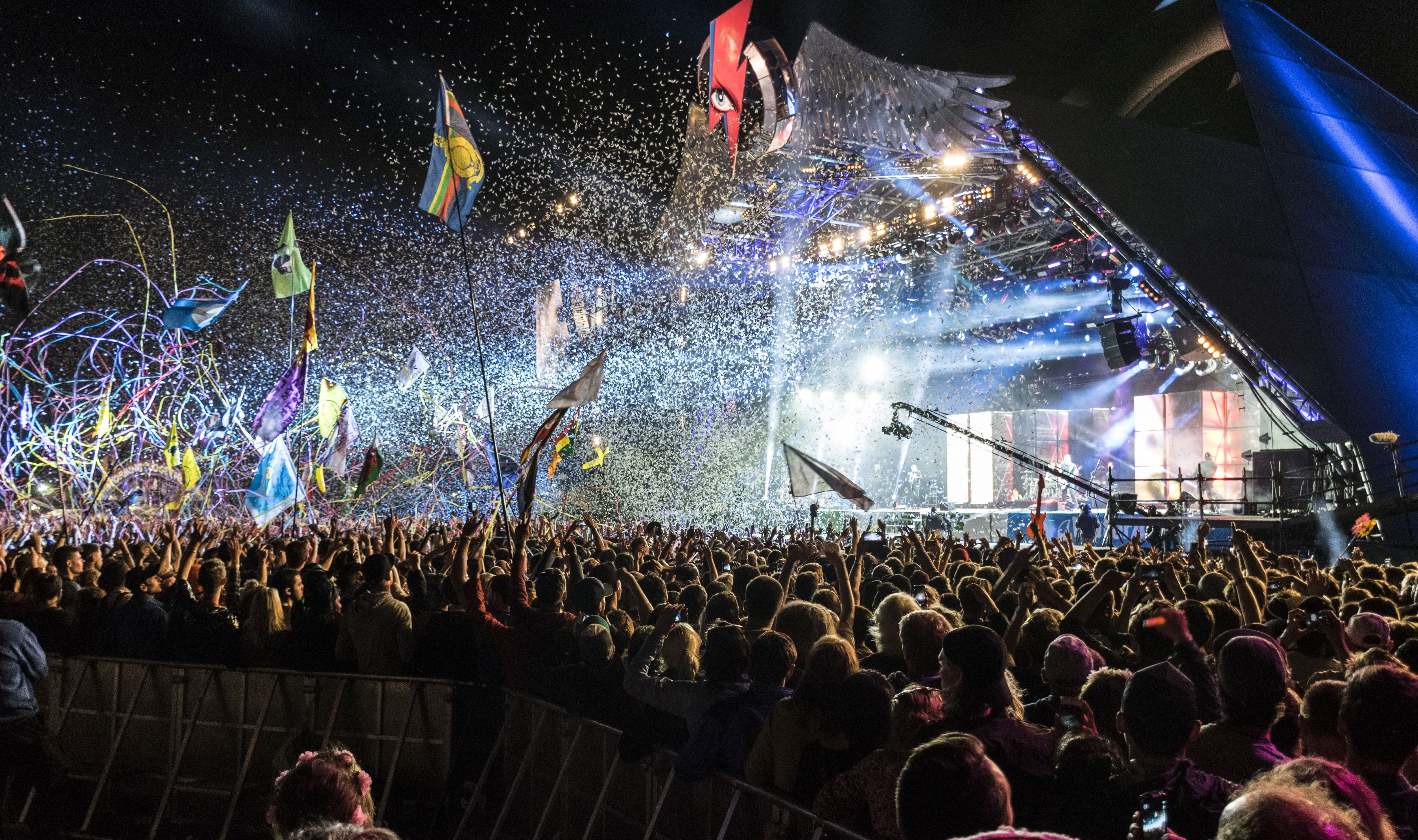 Night time concert scene at Glastonbury