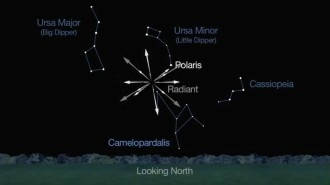 The meteor shower will appear to radiate out from a point near the constellation Camelopardalis. NASA/JPL-Caltech
