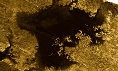 The mystery object, described as a 'magic island' appeared out of nowhere in radar images of a hydrocarbon sea on Saturn's giant moon, Titan. Photograph: JPL-Caltech/ASI/Cornell/NASA/PA