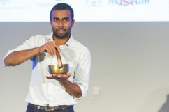 Niraj Lal with the Buddhist bowl that inspired his research into solar cells. (Credit: OK-White Lane)