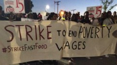 Striking fast-food workers in Detroit on Thursday, September 4 are among those nationwide demanding a $15 minimum wage, better workplace protections, and the right to join a union. (Photo: Twitpic)