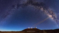 Telescopes from Hawaii's W.M. Keck Observatory use a powerful technology called adaptive optics, which enabled UCLA astronomers to discover that G2 is a pair of binary stars that merged together, cloaked in gas and dust. Credit: Ethan Tweedie